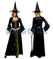 Women Adult Sexy Queen Of Witch Black With Green Lace Ladies Fancy Dress Halloween For Women