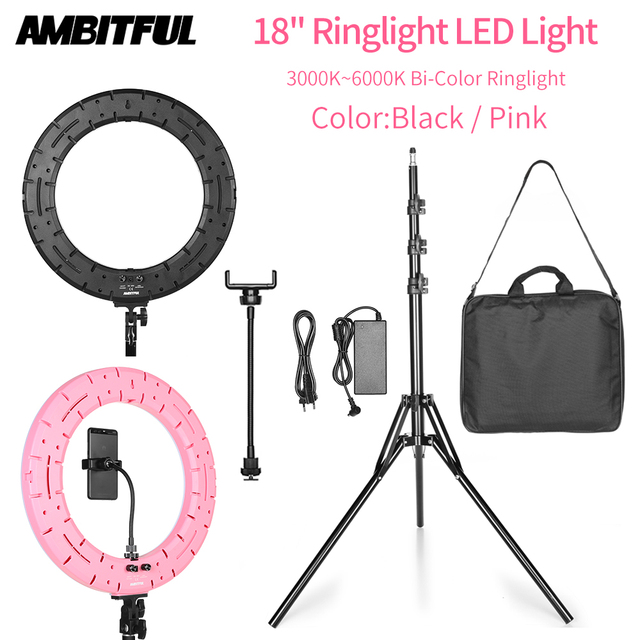 AMBITFUL RL-480 18'' 45cm Dimmable LED Ring Light Lamp 60Ws 3000~6000K 480 LED with Light Stand for Photo Video Lighting Kit