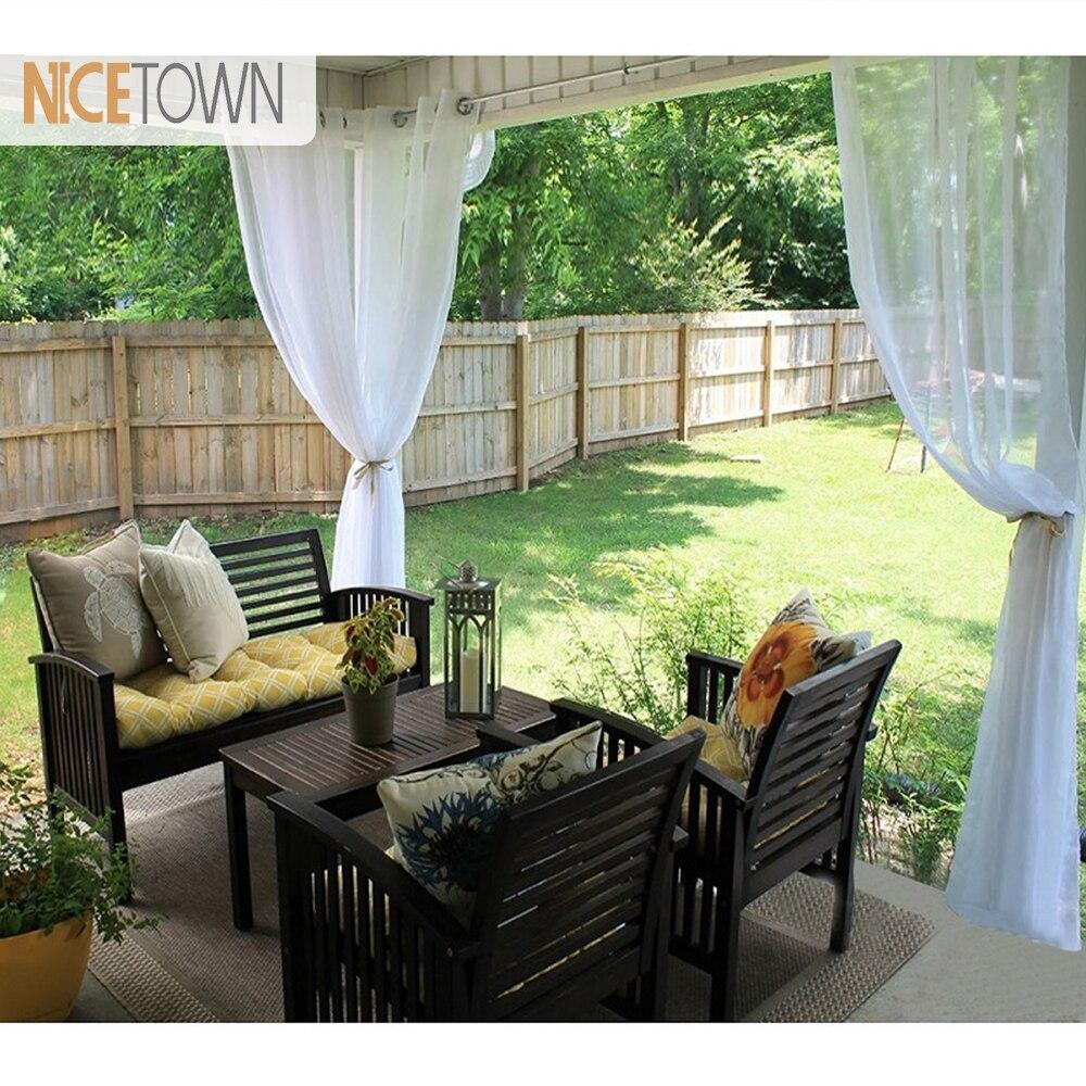Dekoracja wnętrz Dekoracje ogrodowe Outdoor Sheer Curtains for Porch - Tekstylia do domu