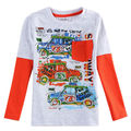 one piece retail o-neck collar nova boy long sleeve t shirt with pocket print cartoon car for new fashion style A6030