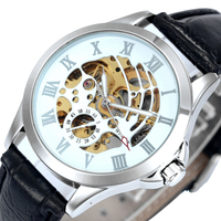 WINNER Classic Casual Women Self wind Auto Mechanical Watch Skeleton Dial Leather Strap