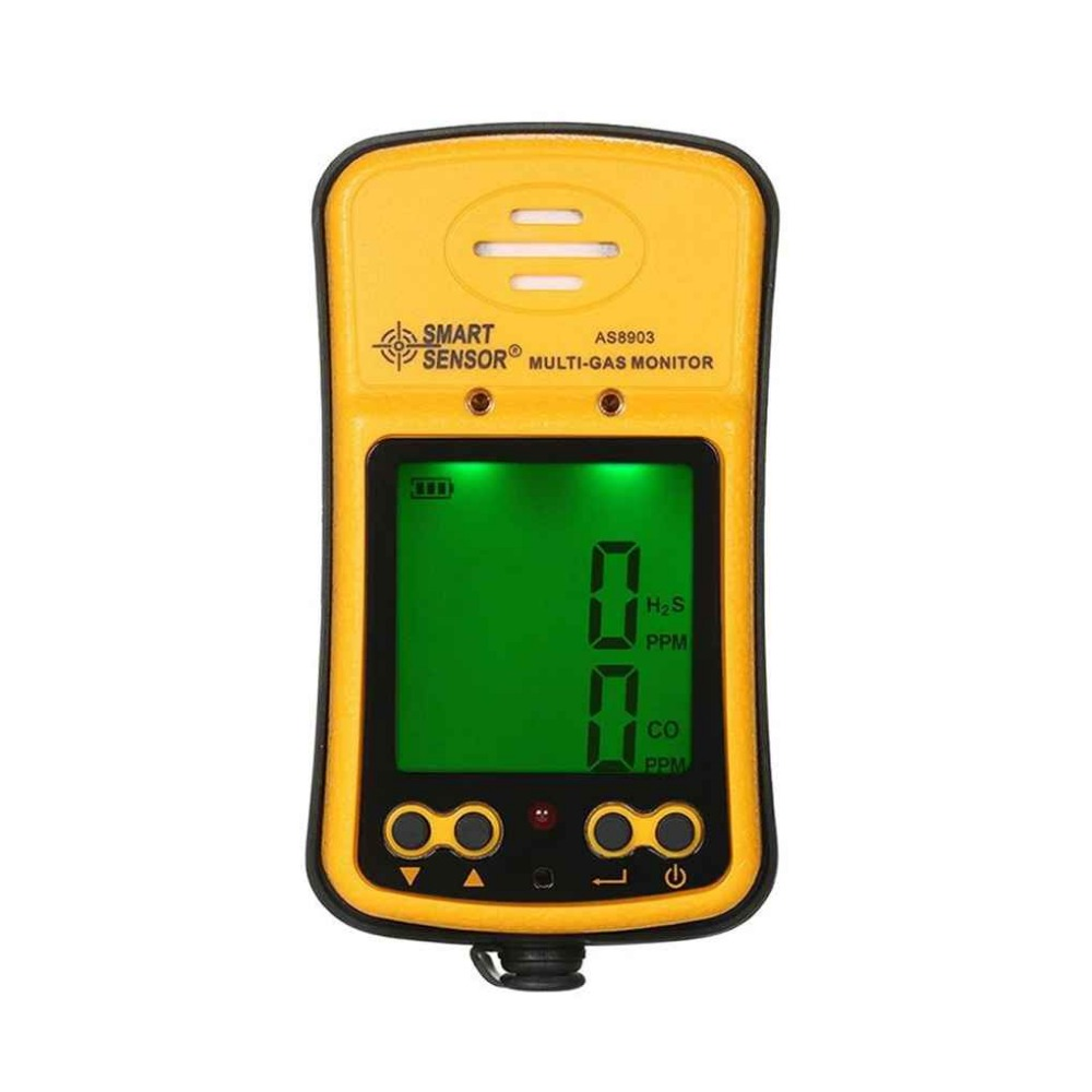 SMART SENSOR AS8903 2 in 1 Carbon Monoxide Hydrogen Sulfide Detector Digital CO Tester H2S Meter Analyzer Flammable Gas Yellow image