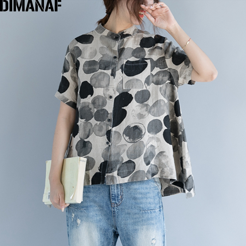 DIMANAF Women Summer   Blouse     Shirt   Plus Size Print Polka Dot Linen Thin Basic Tops 2018 Female Lady Vintage Clothing Loose   Blouse