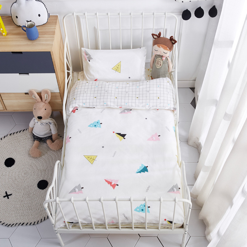 3 Pcs Set Baby Bedding Set Including Duvet Cover Pillowcase Bed Sheet Pure Cotton Baby Linen Baby Crib Set For Both Girl and Boy 3 pcs set 100% cotton baby bedding set bed sheet duvet cover pillowcase fish tree pink white blue boy and girl cute beding