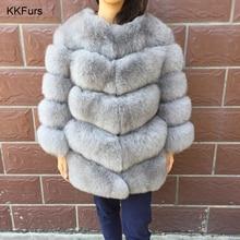 JKKFURS 2019 Real Fox Fur Coat Womens Winter Outerwear 5 Rows Warm Jackets Fashion Style Overcoat Wholesale S7220