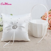 2Pcs Set 8 Colors Satin Wedding Ceremony Decorations Ring Pillow Flower Basket Party Decor Products Wholesales