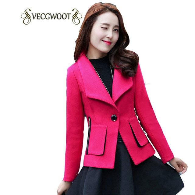 2017 Autumn New Women Pure color Woolen Jacket Fashion Slim Short Single  button Women Large size 32b8f3bf50