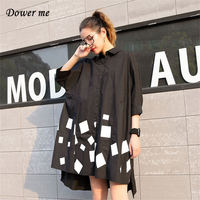 Spring Women Black Blouse Dress Vestidos Ladies Fashion Print Dresses Female Turn Down Collar Frocks MM010