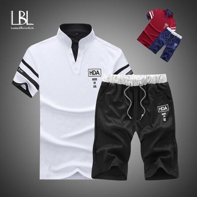 Camisa polo de verão dos homens de manga curta polo + shorts terno masculino sólido jérsei respirável 2pc topo conjunto curto de fitness sportsuits 1
