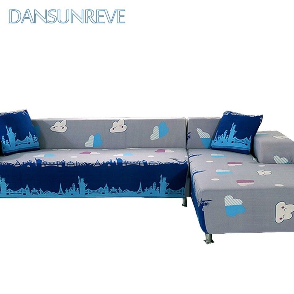 Grau Und Blau L Form Sofa Abdeckungen Für Wohnzimmer 100% Polyester ...