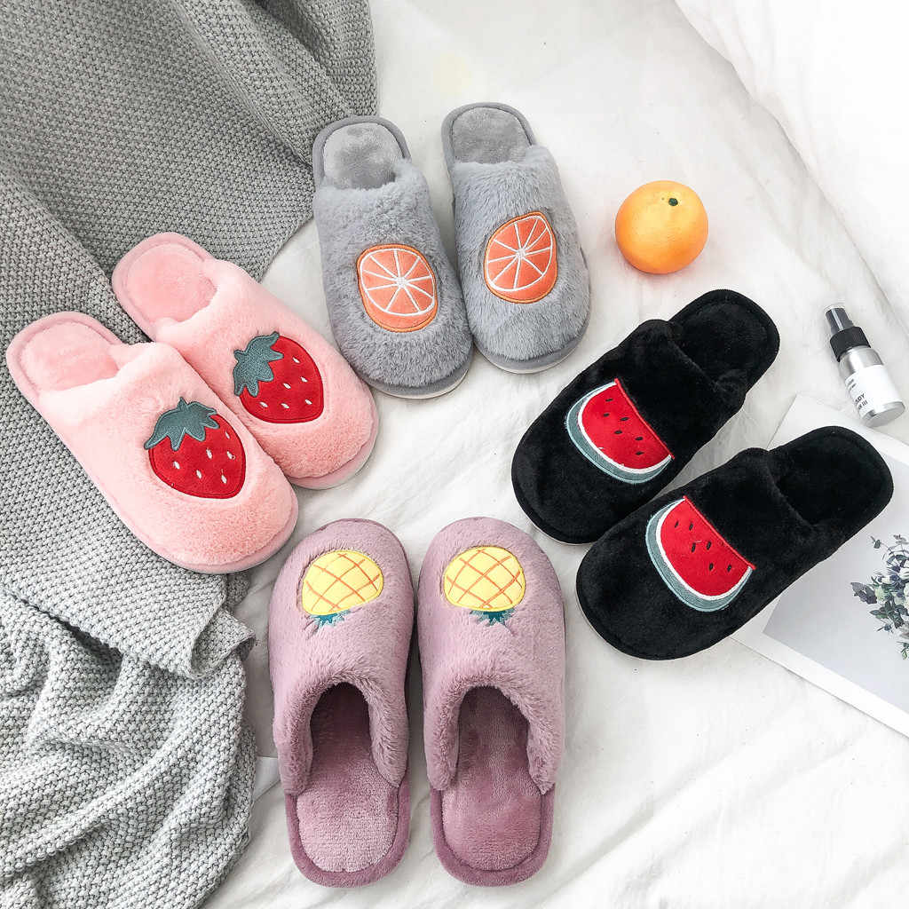 Women Winter Home Slippers fruit print Non-slip Warm Indoors Bedroom Floor Shoes Plush Slippers Women Faux Fur Slides Flip Flops