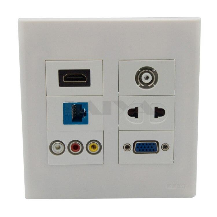 120X120mm visage plaque HDMI VGA CAT6 RJ45 3RCA AV TV AC puissance mur support de plaque DIY