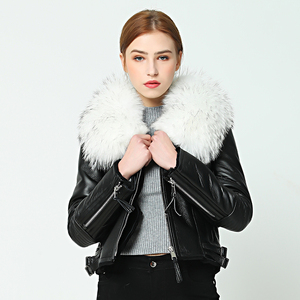 Image 3 - OFTBUY 2020 new Winter jacket coat women Real Sheep skin Leather jacket Double faced Fur With Raccoon Dog Fur Collar Wool Liner