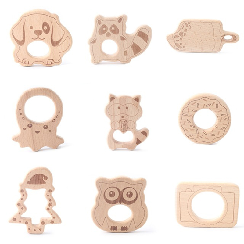 Baby Wooden Teether Animal Beech Wood Rodent Printing Christmas Tree For Pacifier Chain Wood Teething Wood Pendant Kid Goods Toy