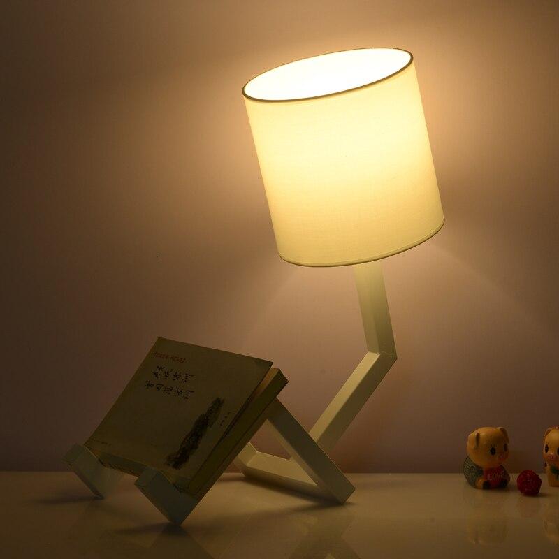 Современные Простые ткань абажур Утюг настольная лампа робот ночники лампа