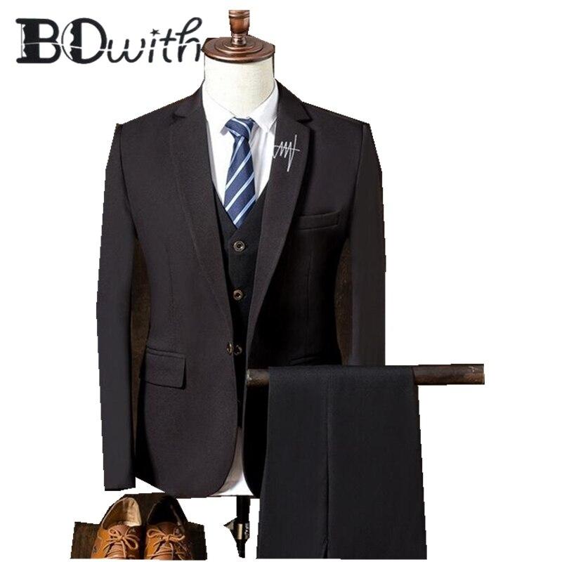Dark Brown Men Suit Notched Collar One Button Slim Fit 3 Pieces Jacket+Vest+Pants For Wedding Tuxedos Formal Suits