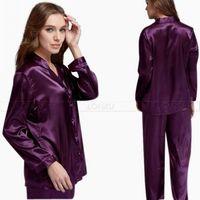 Womens Silk Satin Pajamas Pajama Pyjamas PJS Sleepwear Sleepcoat Set U S S6 M8 M10 L12