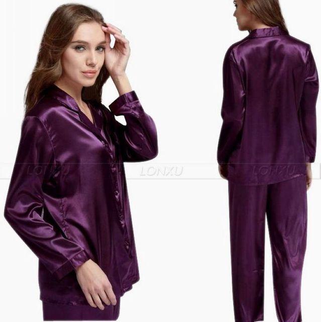 Regalo Para Mujer de Satén de Seda Pajamas Set Pijama pijama Conjunto PIJAMA de Dormir Loungewear S, M, L, XL, 2XL, 3XL Plus Solid