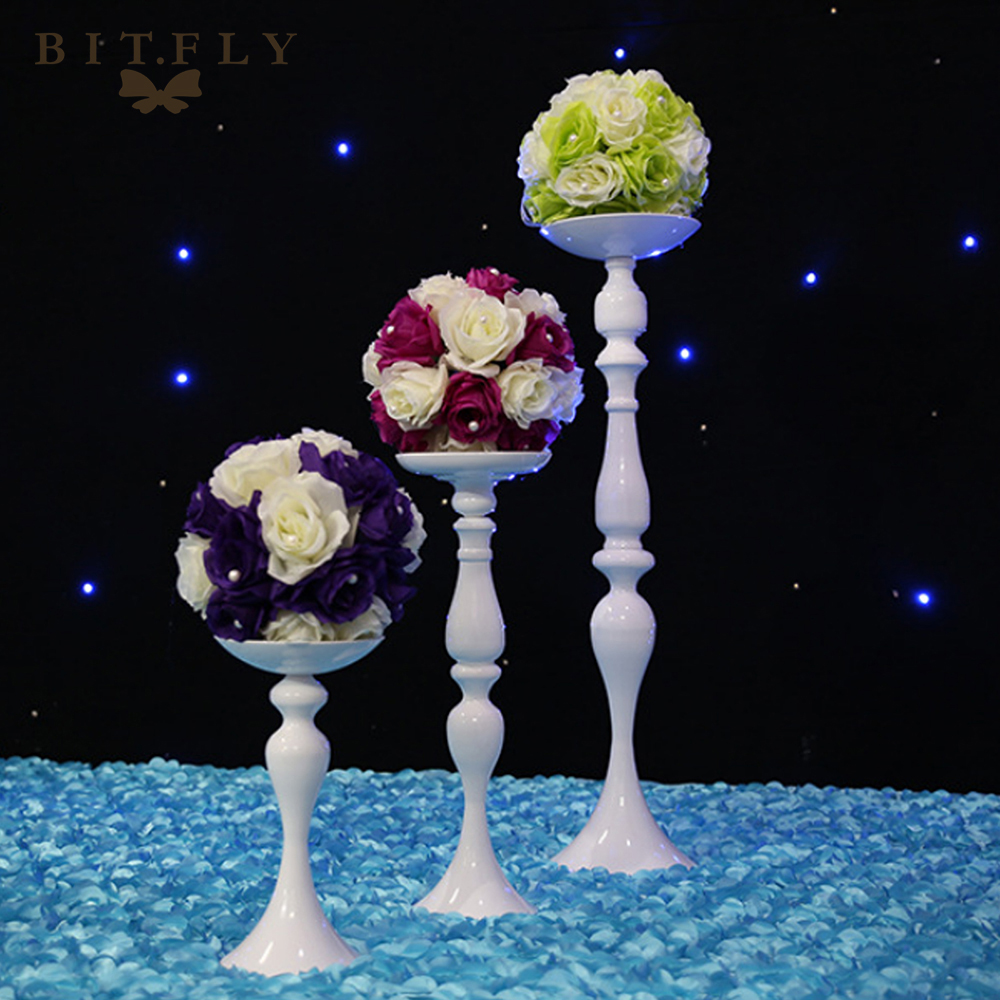 Metal Candle Holders Stand Gold Silver Flowers Vase artificial silk Rose Flower ball Centerpieces Candelabra Wedding Decoration