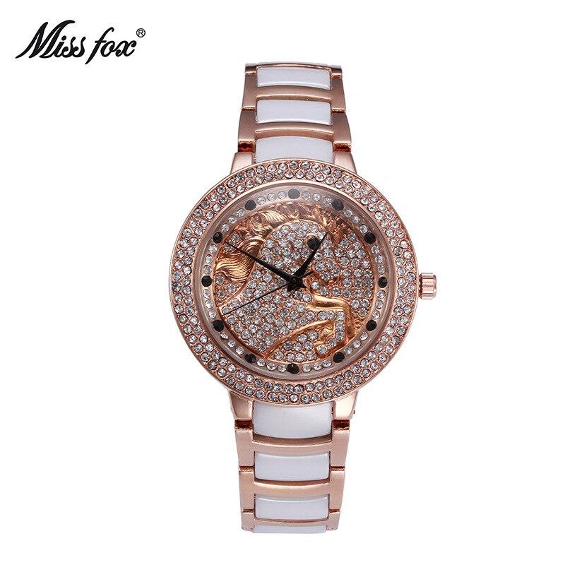 Miss Fox marque femmes blanc noir en céramique montres de luxe de haute qualité montre de mode montres décontractées montres à Quartz