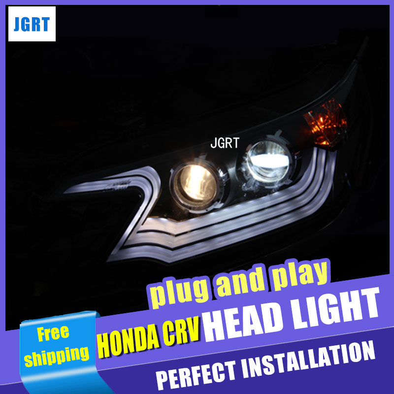 Car Styling for Honda CRV LED Headlights 2012 Lexus Style DRL Lens Double Beam H7 HID Xenon bi xenon lens car styling for honda crv headlights u angel eyes drl 2012 for honda crv led light bar drl bi xenon lens h7 xenon