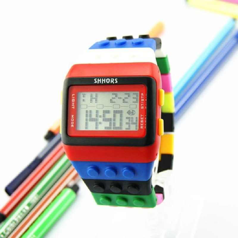 ساعات المعصم مقاوم للماء مع لون للجنسين الملونة الرقمية الجديدة ساعة رياضية دروبشيب jun27