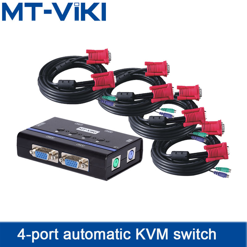 KVM Switch 4 Port VGA Auto PS2 Keyboard Mouse Sharer 4 In 1 Out A set of mouse and keyboard control four computers MT-461SL mouse keyboard penetrator file data sharer clipboard sharing 1 km set control 2 host pc linker kvm switch without vga usb gadget