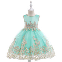 Flower Girl Dresses With Beading Decoration Princess Dress Sleeveless Long Frocks Teenage First Communion Sling Gown Kids