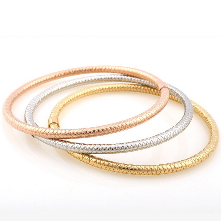 Thin Jewelry Set Vintage Tri Color Srew Circle Hollow Silver Rose Gold Plated Stainless Steel Bangle Bracelets In Bangles From