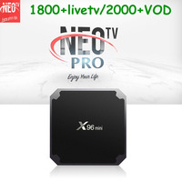 French IPTV X96 mini Smart TV BOX 1200+ NEOTV pro Subscription Europe French Arabic Beigium VOD X96mini IP TV Set top Box VS X88