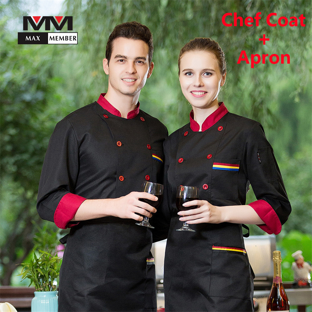M-3XL Men Women Spliced Stand Collar Double Breasted Kitchen Chef Work Coat Long Sleeve Cook Suit Restaurant Uniforms Jacket