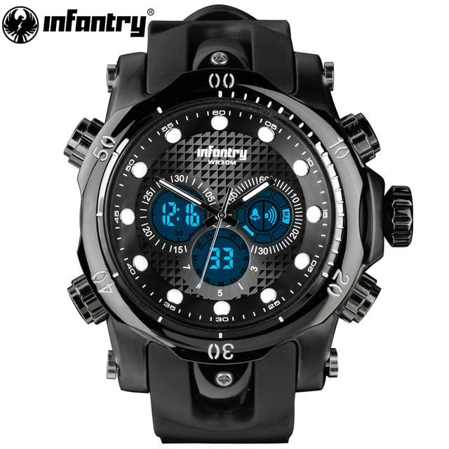 2de7bd12b0f INFANTARIA Militar Homens Relógio LED Digital Mens Relógios Top Marca De  Luxo Grande Piloto Do Exército