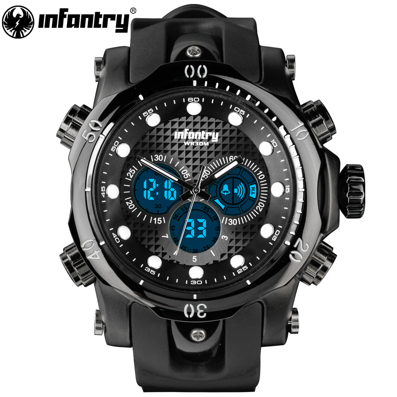 Men Watches Luxury Casual Men Watches INFANTRY Analog Military Sports Watch Big Dial Quartz Wristwatches Relogio Masculino 2018 big blue white dial men s sports quartz watches men watch pu leather wristwatches for lover gift relogio masculino ll
