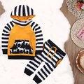 2 unids Sistema Del Bebé Infantiles Del Niño Niños Bebés Niñas Trajes de Manga Larga A Rayas Patchwork Top Con Capucha + Pantalones Largos ropa Fijada