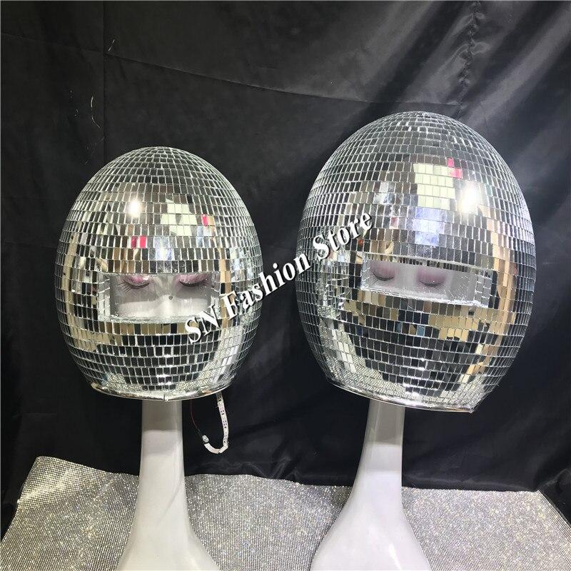 DC87 trajes De dança de Salão das mulheres dos homens do espelho cantor stage show usa dj vestir passarela desempenho discoteca bola De Vidro levou capacete