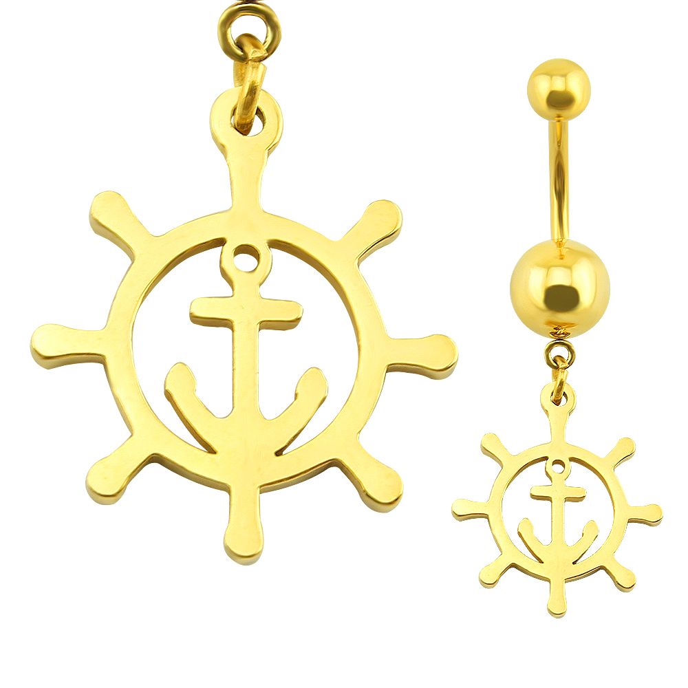 trendy anchor belly button rings stainless steel jewelry