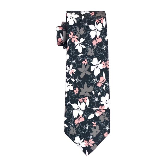 Floral Tie Set for Men White Pink Cufflinks