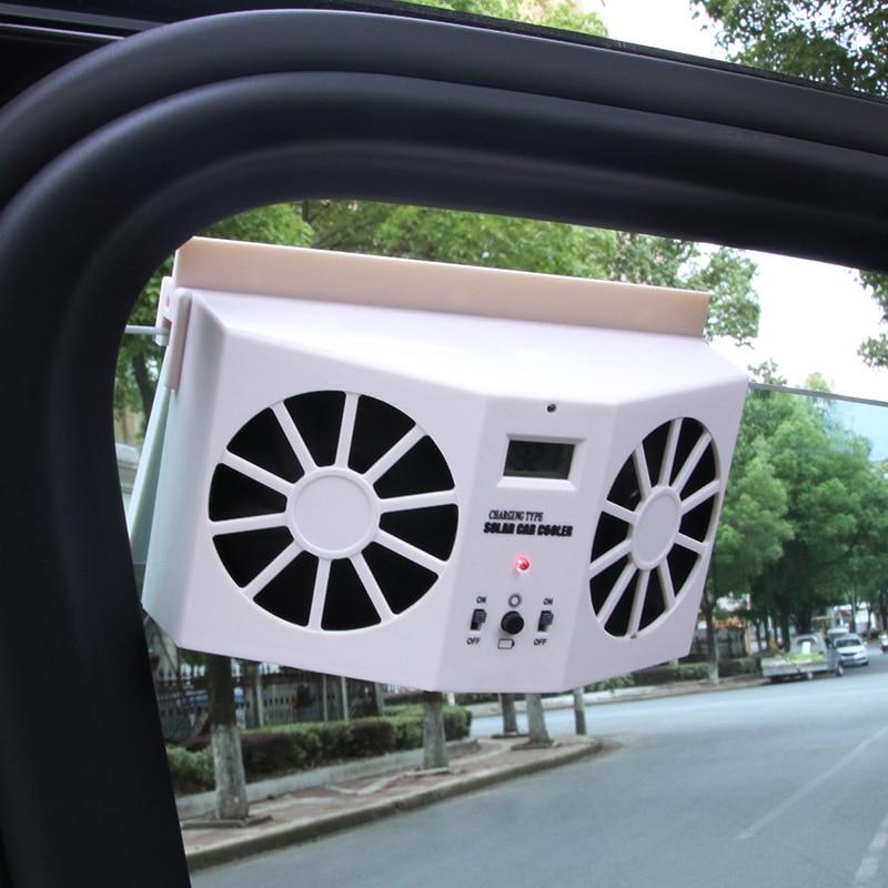 Solar Powered Car Cool Fan Sun Powered Window Ventilator Car Front Rear Window Vehicle Radiator Auto Ventilation White 10w