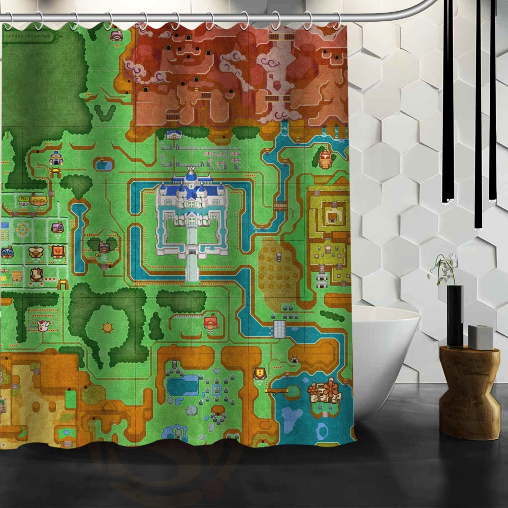 Treasure map shower curtain - The Legend Of Zelda Map Background Waterproof Polyester Shower Bath Curtain 60 X 72