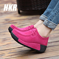 HKR 2016 autumn women ankle boots women leather suede winter boots women platform boots flat platform boots zapatillas 3582