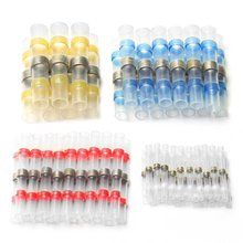 100PCS Solder Seal Wire Connector Heat Shrink Butt Terminals Electrical Insulated Marine Waterproof Terminal with Case цена