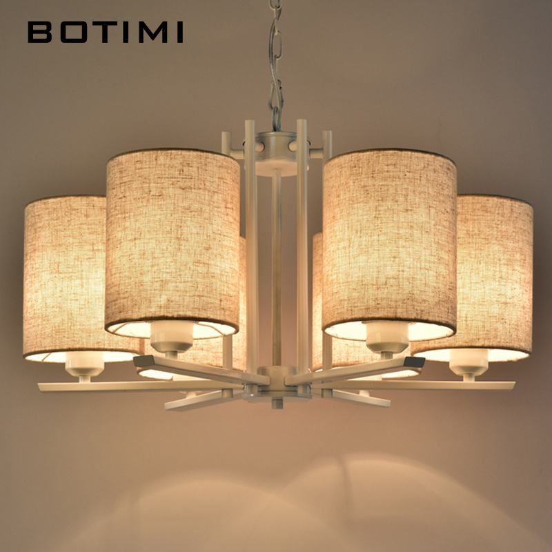 BOTIMI Nordic Chandeliers Linen Chandelier For Living Room Dining Suspension Luminaire Black Red Hanging Lighting Fixtures modern crystal chandelier led hanging lighting european style glass chandeliers light for living dining room restaurant decor