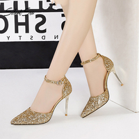 Silentsea Sexy Sequined Cloth Women Sandals 9.5cm Thin Heel High Heel Pumps For Female Nightclub Dancing Stilettos Ladies