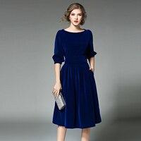 סתיו חדש אלגנטי לנשים Slim קפלים שמלת גבירותיי גבוהה מותן Mujer בתוספת גודל o-צוואר Vestidos דה Festa שמלות Robe Femme BH518A