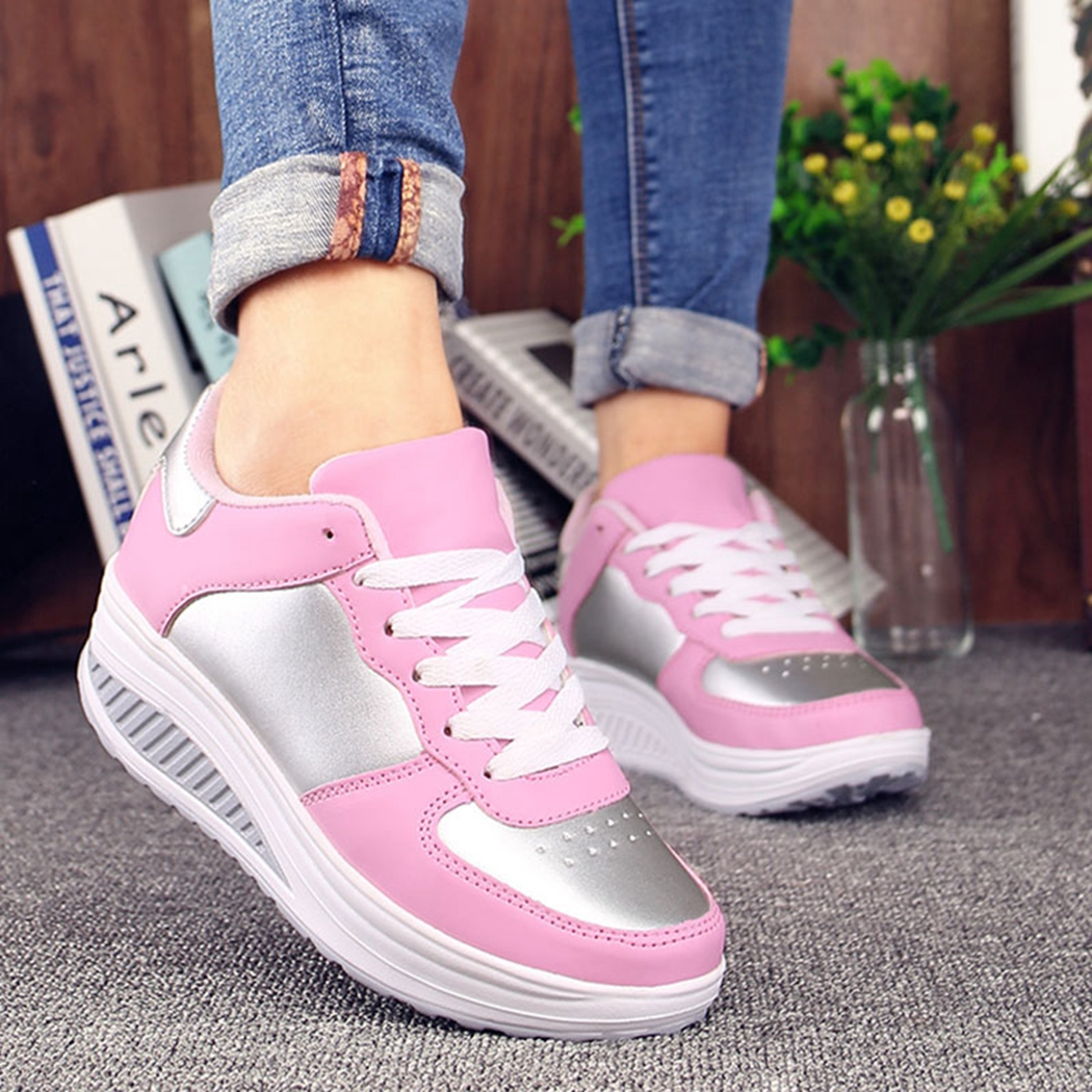 SHEHUIMEI 2018 Fashion Casual Basket Lace Up Women Sneakers Summer Wedges Shoes Platform Trainers New Ladies Vulcanize Shoes