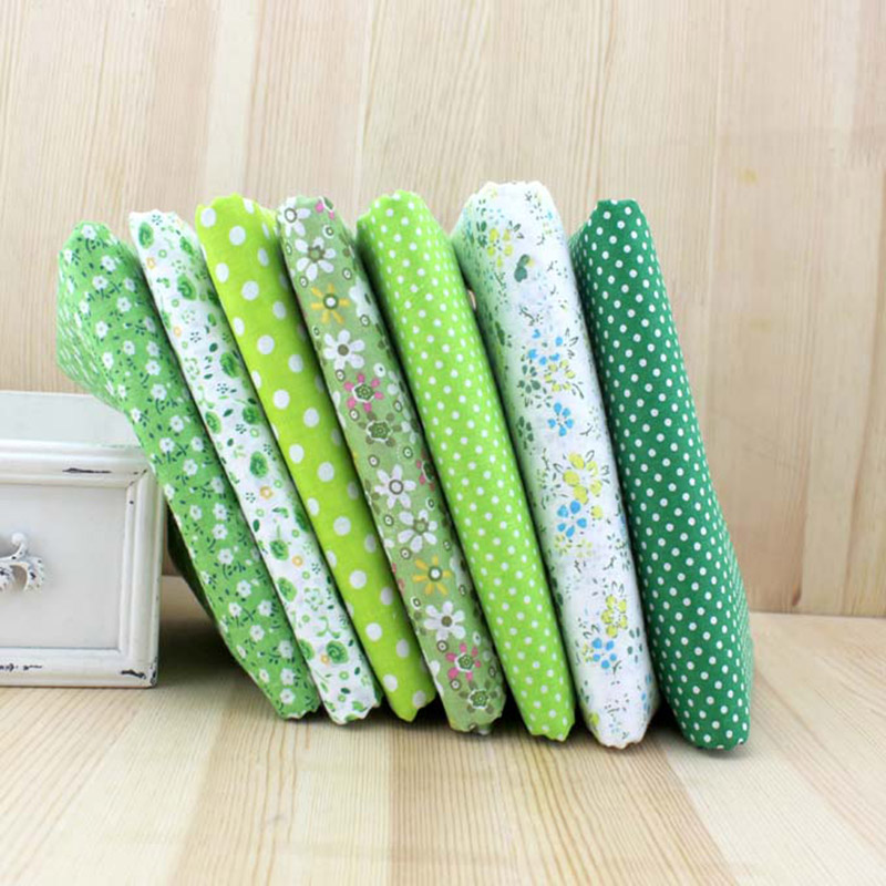 2017 7pc Felt Fabric Green Color 100% Cotton Tissues Fabric Squares Diy Sewing  Quilting Cloth Crafts Materials 25cmx25cm