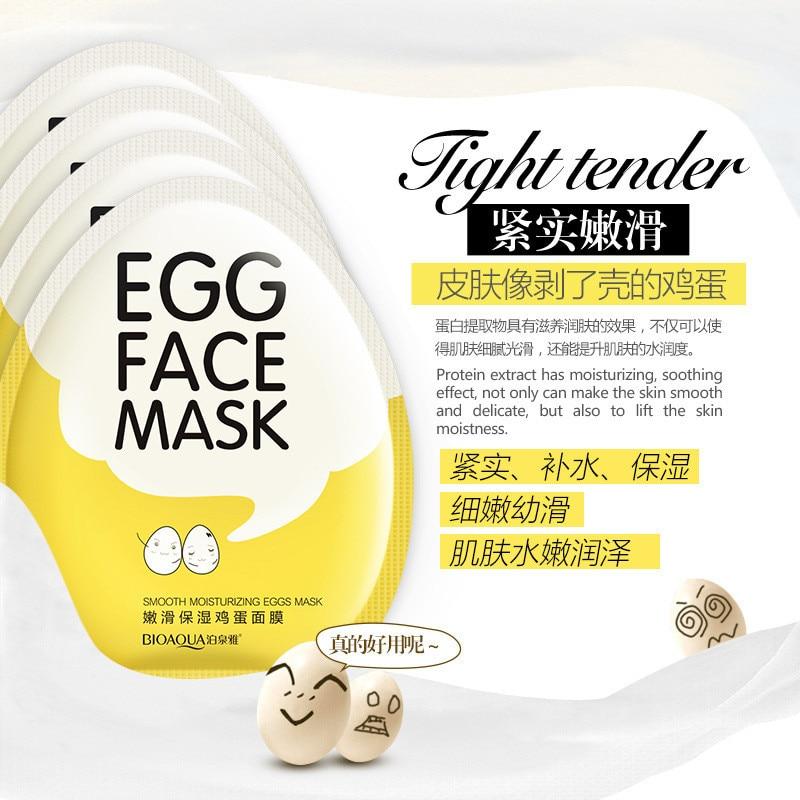 BIOAQUA Egg Facial Mask Smooth Moisturizing Face Mask Oil Control Shrink Pores
