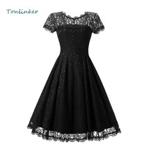Tonlinker Summer Womens Lace Dress Vintage O Neck Slim Sexy Black Dresses Party dress