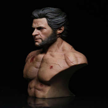 1/6scale Male Muscle Uncle Wolverine logan half Chest Bust Sculpture battle Damaged Body for 1/6 nger/Normal Version Head Sculpt