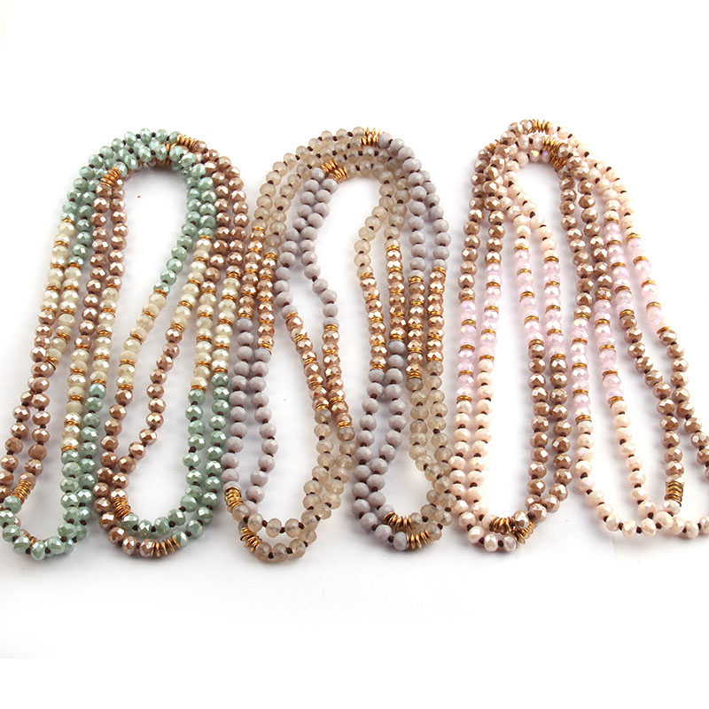 Free Shipping Fashion 6mm Glass Knotted Metal Spacer Multi Crystal Necklace